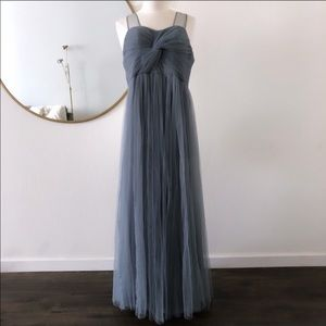Revelry Bridesmaid Tulle Dress Empire Gown Blue